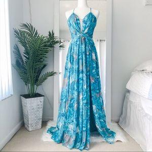 NWOT GB Long 𝙱𝚕𝚞𝚎 + Gray Dress | Size 3